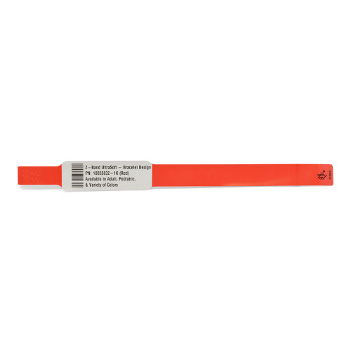 """Zebra 1"""" x 10.75"""" Z-Band UltraSoft Bracelet Design Wristband (Red) (Case) - 10033832-1K"""