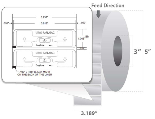 "Zebra 3.819"" x 1.063"" Z-Perform 1500T RFID Label (Case) - 10026641"