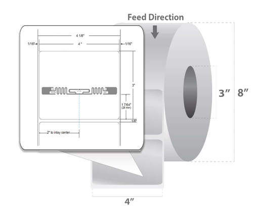 "Zebra 4"" x 3"" Z-Perform 1500T RFID Label (Case) - 10026445"