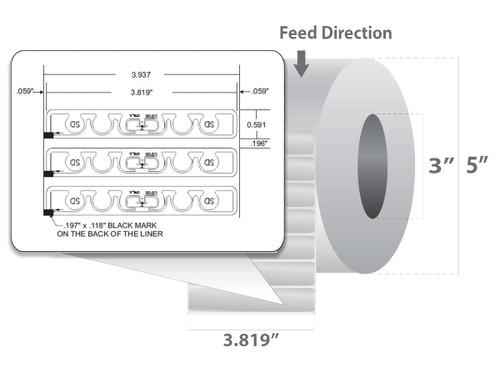 "Zebra 3.819"" x 0.591"" Z-Perform 1500T RFID Label (Case) - 10026631"