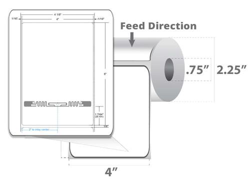 "Zebra 4"" x 6"" Z-Perform 2000D RFID Label (Case) - 10027808"
