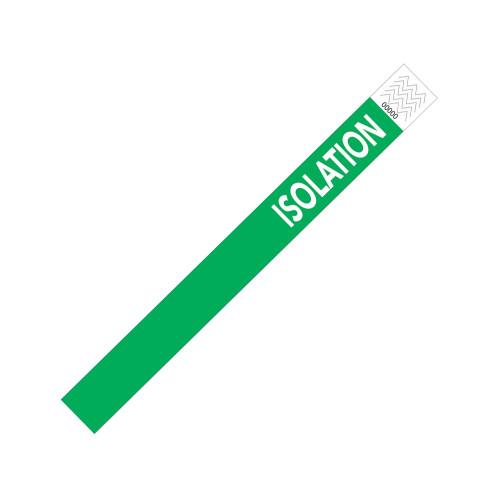 """Zebra 1"""" x 10"""" Tyvek Alert Isolation Wristband (Green) (Case) - TY-ISOLATION"""