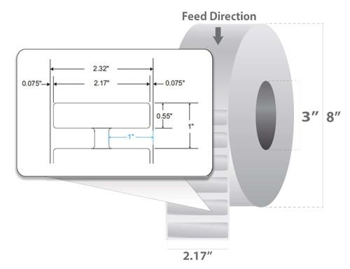 """Zebra 2.17"""" x 0.55"""" Silverline RFID Label (Case) - 10025342"""