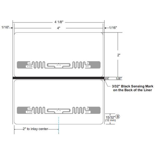 "Zebra 4"" x 2"" Z-Perform 2000D RFID Label (Case) - 10026636"