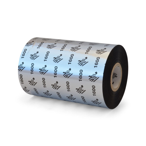 "Zebra 4.33"" x 1,476' 1600 Wax Ribbon (Case) - 01600BK11045"