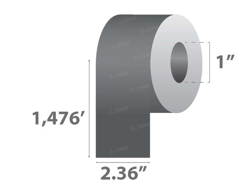 "Zebra 2.36"" x 1,476' 5319 Wax Ribbon (Maroon) (Case) - 05319MN06045"
