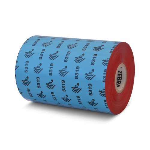 "Zebra 4.33"" x 1,476' 5319 Wax Ribbon (Red) (Case) - 05319RD11045"