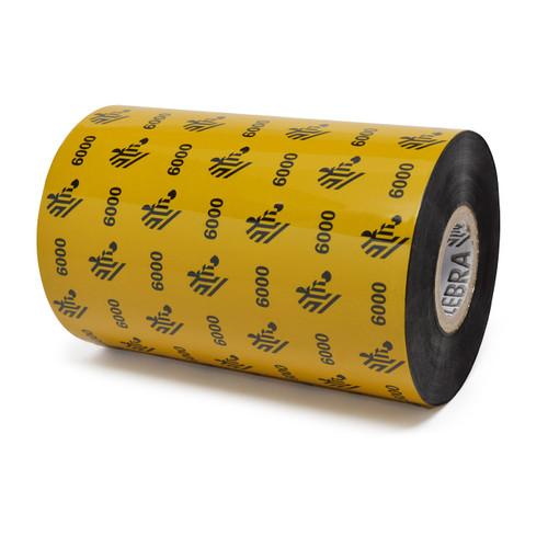 "Zebra 4.33"" x 1,476' 6000 Wax Ribbon (Case) - 06000BK11045"