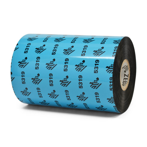 "Zebra 4.33"" x 1,476' 5319 Wax Ribbon (Case) - 05319BK11045"
