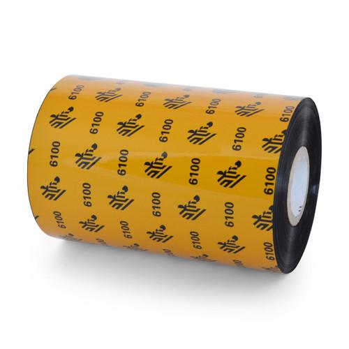 """Zebra 4.33"""" x 1,476' 6100 Wax/Resin Ribbon (Case) - 06100BK11045"""