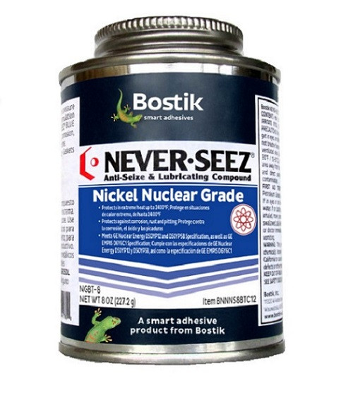 Bostik Never-Seez NGBT-8 Pure Nickel Special Nuclear Grade Anti-Seize 8 oz. Brush Top Can