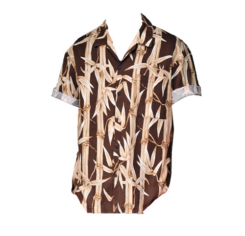 Vintage Brown Bamboo Print Shirt