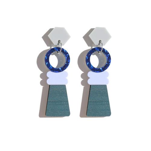 Martha Jean -Totem Pole Earrings - Navy