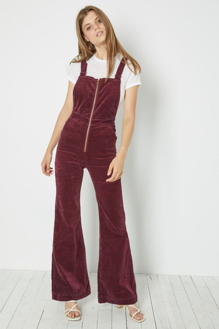 ROLLAS - Eastcoast Flare Overall - Bordeaux Cord