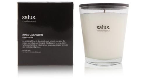 SALUS -Rose Geranium Candle