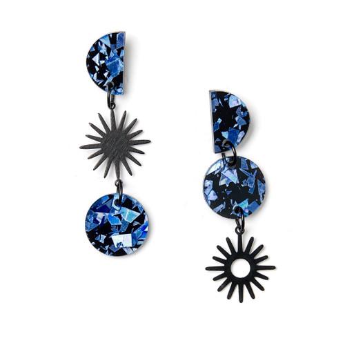 Martha Jean - Sun Moon Earrings - Blue