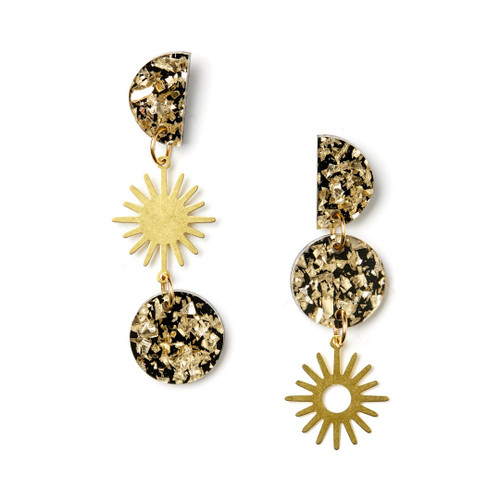 Martha Jean - Sun Moon Earrings - Gold