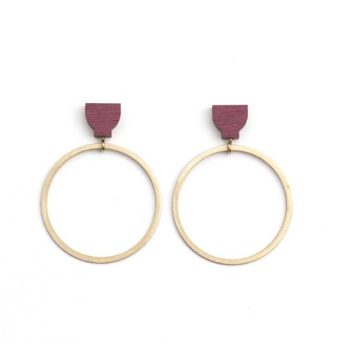 Martha Jean - Hoop Earrings - Burgandy
