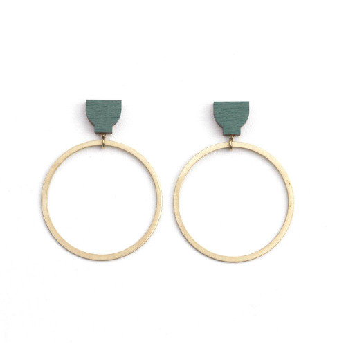 Martha Jean - Clip on Hoop Earrings - Green