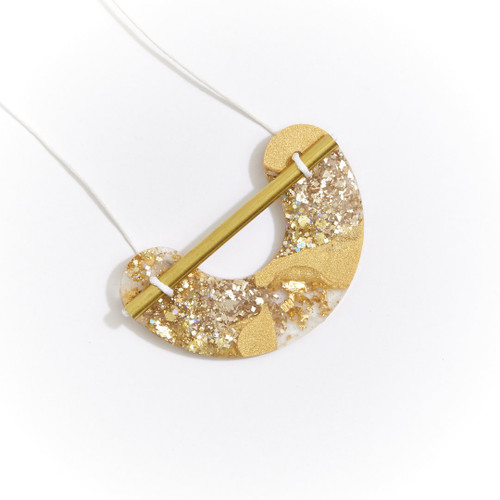 MARTHA JEAN - Resin Necklace - Gold Glitter