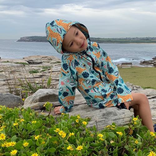 Kids Raincoat - Mint Leopard
