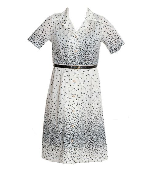 Vintage Black & White Ticker Tape Print Dress