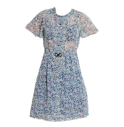 Vintage Blue Floral Dress & Matching Belt