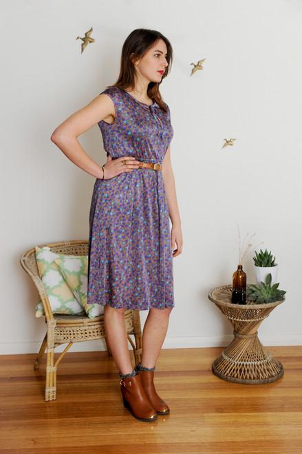 Vintage Purple Flower Bud Dress