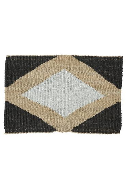 LANGDON - Gem Door Mat - Silver / Black / Natural Jute