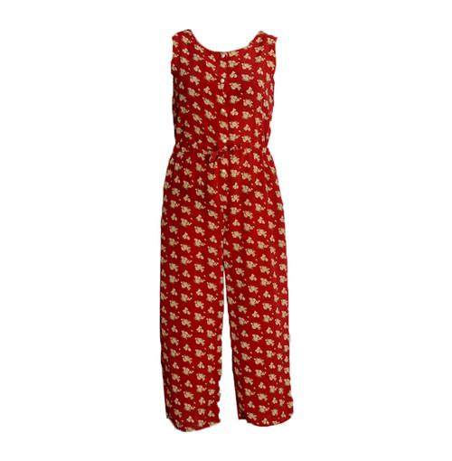 Vintage Red Maroon Floral Jumpsuit