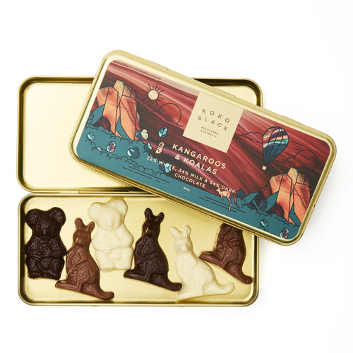 Kangaroos and Koalas Chocolate inside Pencil Tin
