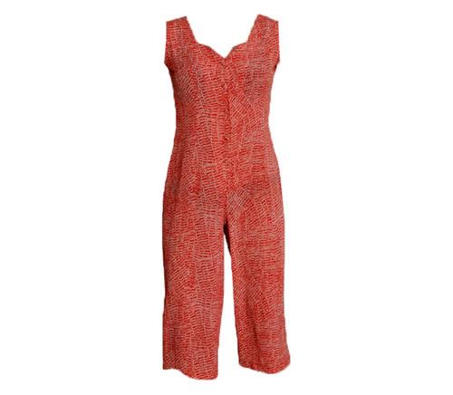 Vintage Red & White Pattern Jumpsuit