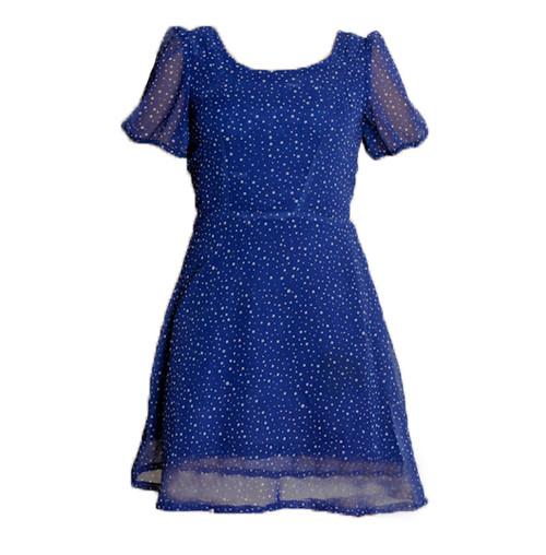 Vintage Blue & White Snow Print Dress