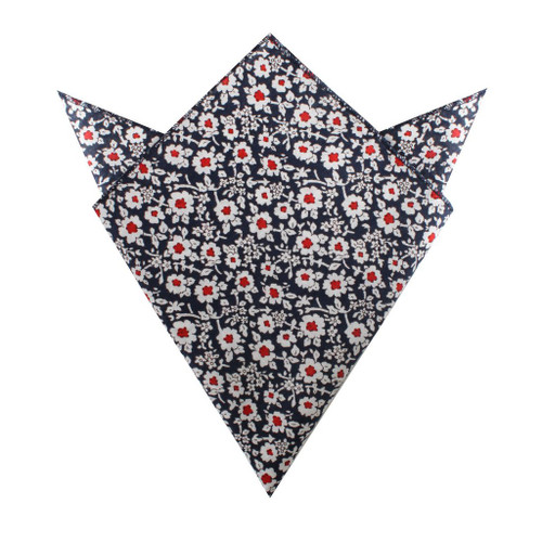 OTAA - New York Navy Floral Pocket Square