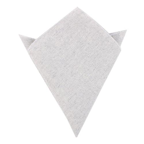 OTAA - Light Grey Herringbone Pocket Square