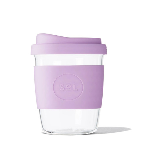 SOL - 8oz Handblown Glass Reusable Cup - Lovely Lavender