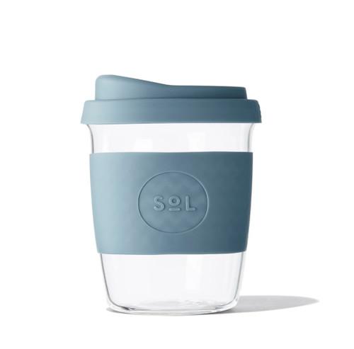 SOL - 8oz Handblown Glass Reusable Cup - Blue Stone