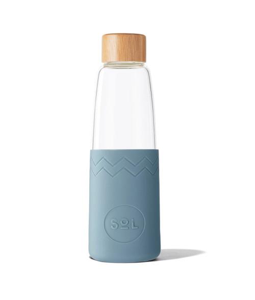 SOL - Handblown Reusable Glass Bottle - Blue Stone