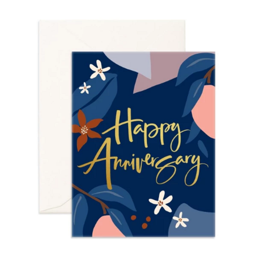 FOX & FALLOW - Happy Anniversary Navy Greeting Card