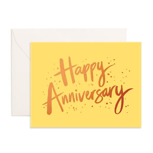 FOX & FALLOW - Happy Anniversary Yellow Greeting Card