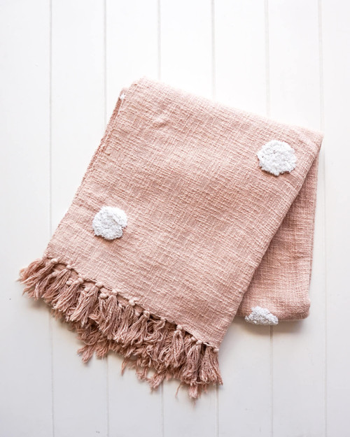 RAYELL - Throw Blanket - Belvidere in Blush