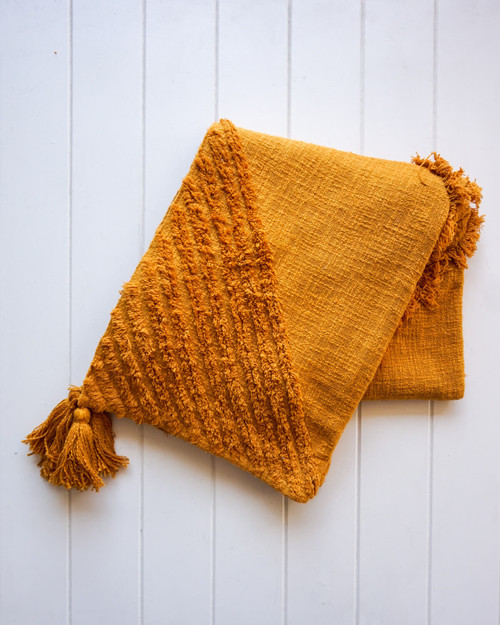 RAYELL - Throw Blanket - Burleigh in Ochre