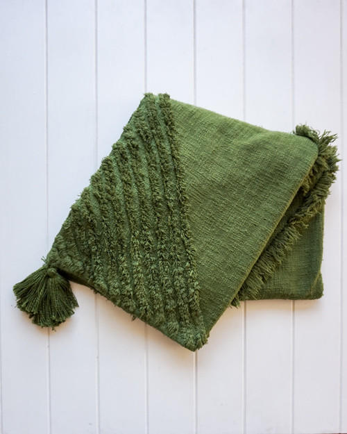 RAYELL - Throw Blanket - Burleigh in Olive Green
