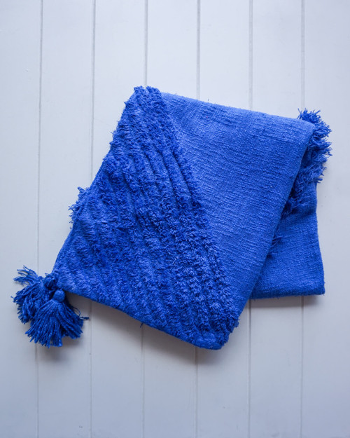 RAYELL - Throw Blanket - Burleigh in Royal Blue