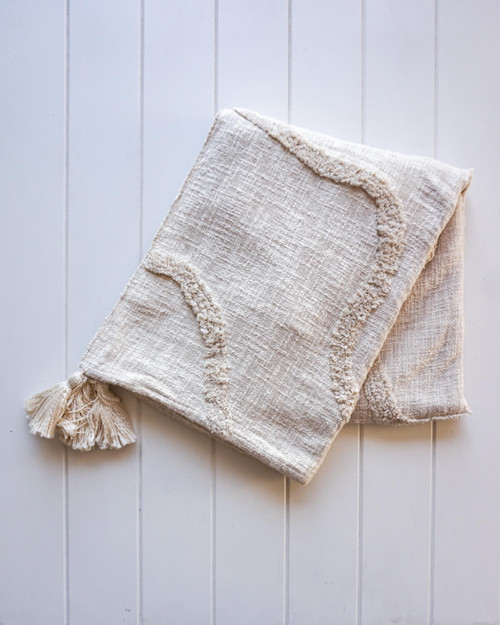 RAYELL - Throw Blanket - Riverina in Natural