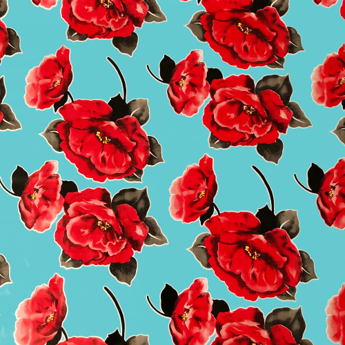 BEN ELKE - Red Flowers on Blue Tablecloth 120cm x 120cm
