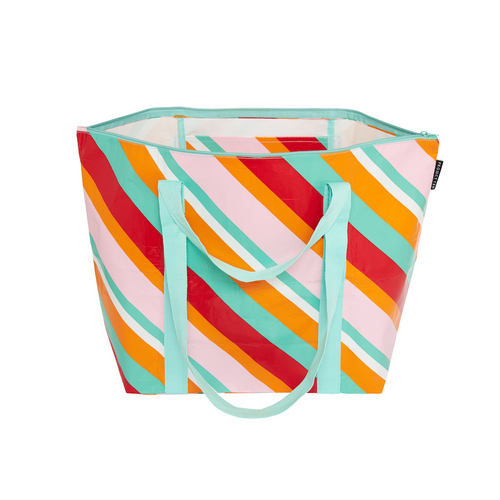PROJECT TEN - Medium Zip up Tote Bag in Candy Stripe