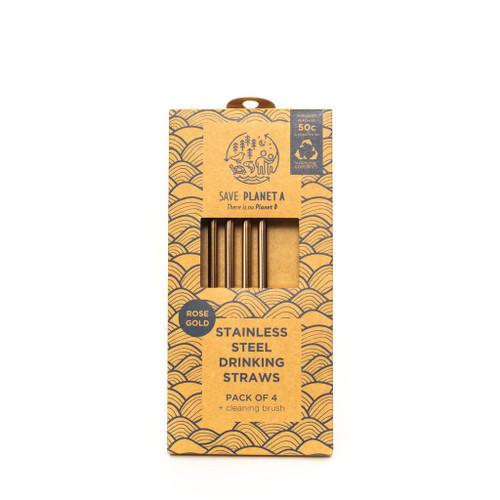 ZEST - Rose Gold Drinking Straws 4pk