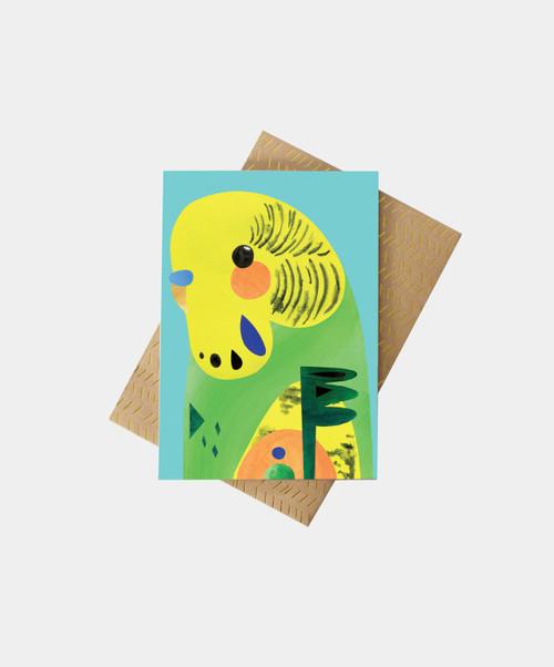 PETE CROMER - Budgie Greeting Card