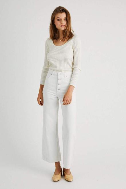 ROLLAS - Classic Rib Sweater - Off White